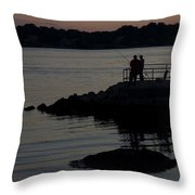 Fishermen Silhouetted By The Sunset Throw Pillow