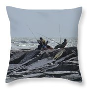 Fishermen With Seagull Throw Pillow