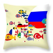 Fishes Map Of Europe Throw Pillow