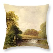 Fishing - Playing A Fish Throw Pillow by William E Jones