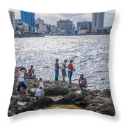 Fishing Along The Malecon Throw Pillow