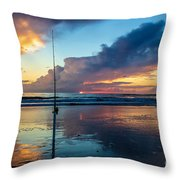 Fishing And Watching The Sunrise Throw Pillow