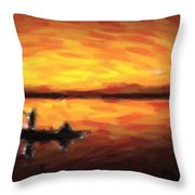 Fishing At Golden Hours Throw Pillow