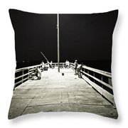 Fishing At Night Throw Pillow