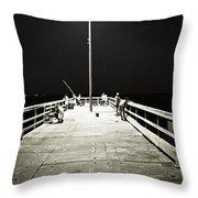 Fishing At Night Throw Pillow