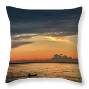 Fishing At Sunrise Throw Pillow