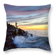 Fishing At Sunset Throw Pillow