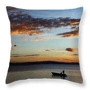 Fishing At Sunset On Lake Titicaca Throw Pillow