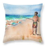 Fishing At The Beach Watercolor Throw Pillow