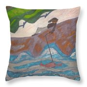 Fishing At The Cove Throw Pillow