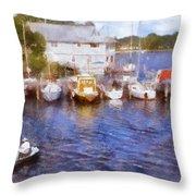 Fishing At The Marina Throw Pillow