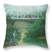 Fishing At The Pump House On White Oak Creek Throw Pillow
