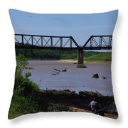 Fishing At The Red River Throw Pillow