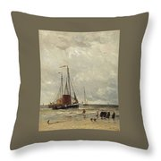 Fishing Barges At Low Tide Throw Pillow