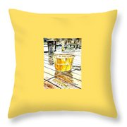 Fishing Basket Throw Pillow by Janet Moss