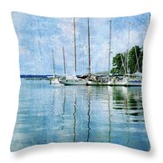 Fishing Bay Reflections Throw Pillow