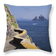Fishing Boat Approaching Skellig Michael, County Kerry, In Spring Sunshine, Ireland Throw Pillow