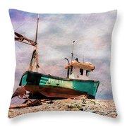 Fishing Boat At Aldeburgh Throw Pillow