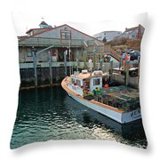 Fishing Boat At Chatham Fish Pier Throw Pillow
