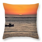 Fishing Boat At Sunrise. Throw Pillow