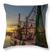 Fishing Boat At Sunset Throw Pillow