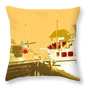 Fishing Boat At The Dock Throw Pillow