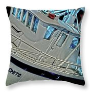 Fishing Boat Hdr Throw Pillow