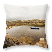 Fishing Boat In Lambs Head Harbor Throw Pillow
