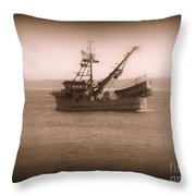 Fishing Boat In Monterey Bay Throw Pillow
