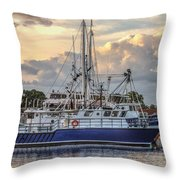 Fishing Boat In Port Throw Pillow
