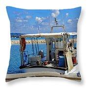Fishing Boat Moored In The Harbor Of Katakolon Greece Throw Pillow