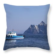 Fishing Boat Near Little Skellig, County Kerry, In Spring Sunshine, Ireland Throw Pillow