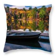 Fishing Boat On Mirror Lake Throw Pillow