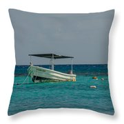 Scuba Boat On Turquoise Water Throw Pillow