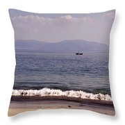Fishing Boat On Ventry Harbor Ireland Throw Pillow
