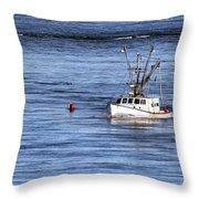 Fishing Boat Return Throw Pillow