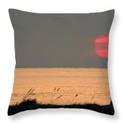 Fishing Boat Under Setting Sun Throw Pillow