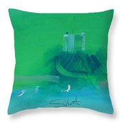 Fishing Boat With Seagulls Throw Pillow