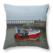 Fishing Boat Wy110 Emulater - Entering Whitby Harbour Throw Pillow