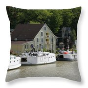 Fishing Boats All In A Row Throw Pillow