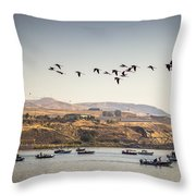 Fishing Boats And Blue Herons Throw Pillow