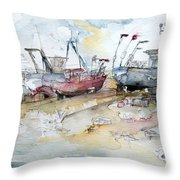 Fishing Boats At Hastings' Beach Throw Pillow