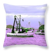 Fishing Boats At Pearl Beach 1.0 Throw Pillow