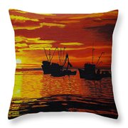 Fishing Boats At Sunset Throw Pillow