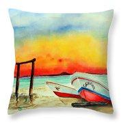 fishing boats Corozal Belize Throw Pillow
