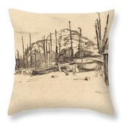 Fishing-boats, Hastings Throw Pillow