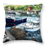 Fishing Boats In Lanes Cove Gloucester Ma Throw Pillow