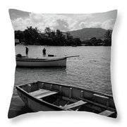 Fishing Boats In Mahebourg  Throw Pillow