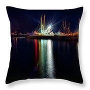 Fishing Boats In Marina At Night Throw Pillow