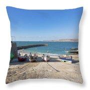 Fishing Boats In Sennen Cove Throw Pillow